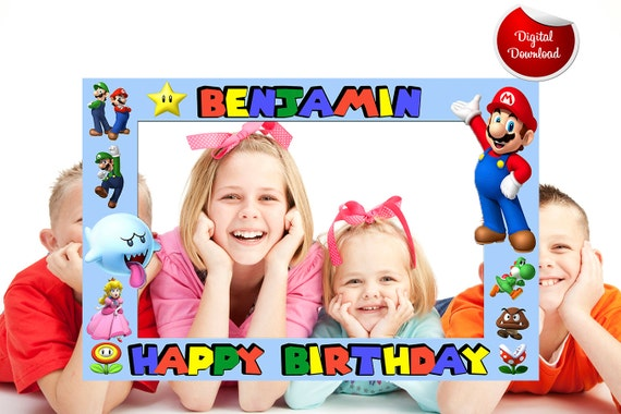super mario bros birthday photo booth frame digital file photo booth birthday frames
