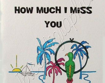 """All Occasion, Miss you, Recovery, Greeting Card - Parrot- How Much I Miss You 5.5x4.5"""" Regular"""