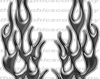 """Pearl Black Flames 12"""" Decal Stickers Graphics 3M Material High Quality with UV Protection"""