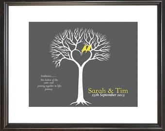 Personalized heart tree, wedding gift print, valentine gift, anniversary gift