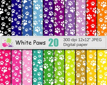 White Paws Digital Paper Set on Rainbow Backgrounds, Dog Paws Pattern, Animal Colorful Digital Scrapbook papers, Instant Download