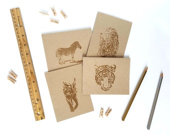 Wild Cats & Zebra Embossed Blank Greeting Cards Variety Pack (Set of 6 cards)