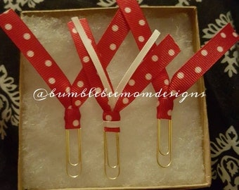 Red white polka dot paperclips