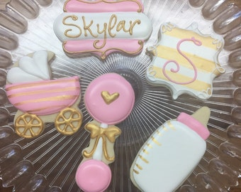 Pink and Gold Baby Shower Cookies