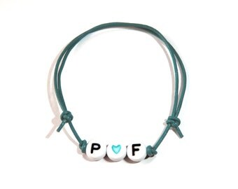 Alphabet letters, heart & turquoise name bracelet turquoise