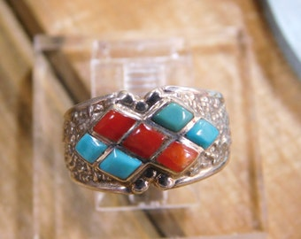 Colorful Coral and Turquoise Sterling Silver Ring