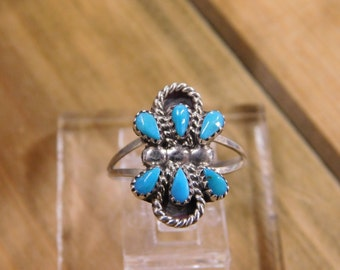 Dainty Teardrop Turquoise Silver Ring 6