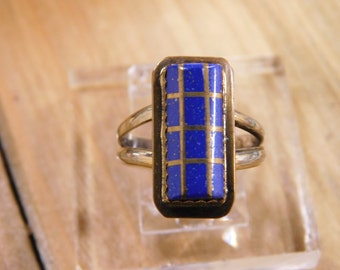 Stunning Lapis Sterling Silver Gold Filled Ring Size 5 1/4