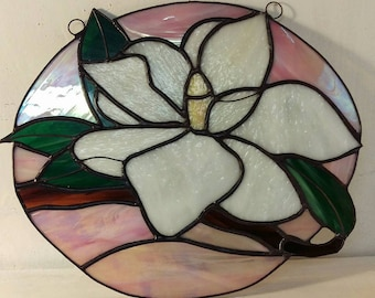 Stained Glass White Magnolia