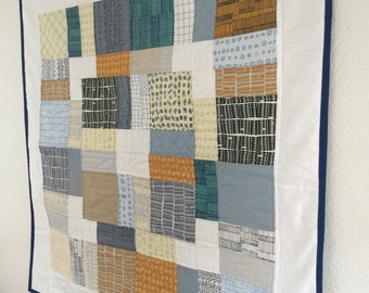 Baby Quilt -  Modern Baby Quilt - Baby Bedding - Mixed Patchwork - Patchwork Baby Quilt -Doe Fabrics by Robert Kaufman