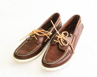 Sperry moccasins sz 7.5- Sperry boat shoe - Leather boat shoes - Nautical boat shoes - Sperry Top Sider shoes - mocs