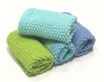 Handmade Knit Dishcloths, Washcloths, Cotton, Kitchen & Dining, Bath and Body, Housewarming Gift, Hostess Gift, Gift Set.