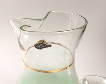 Vintage West Virginia Glass Blendo Frosted Glass Pitcher in Pale Mint Green