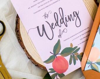 Peach tree fruity Wedding Invitations