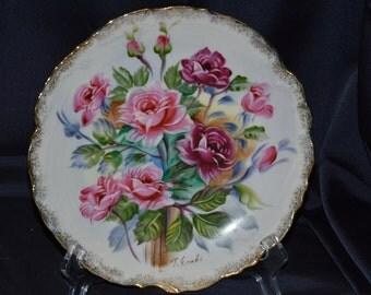 Ucagco Ceramics Japan Pink Roses Porcelain Plate Artist Signed Vintage Item #1809  ON SALE NOW!!