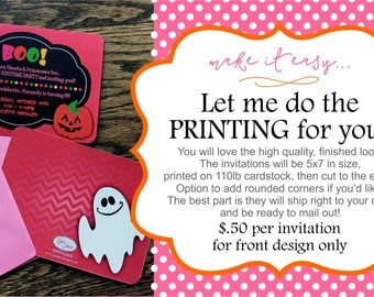 Printed 5x7 invitations, FRONT design only (plain white back)
