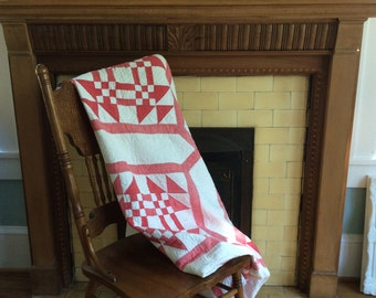 Vintage handmade red and white quilt