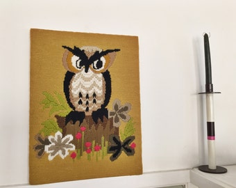 Vintage Embroidered Owl Wall Hanging