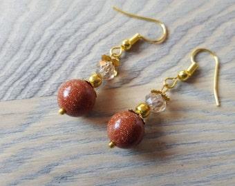 Brown Goldstone gold-plated earrings gem