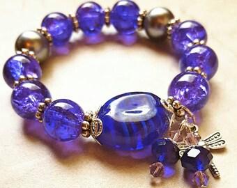 Stretch Purple and Blue Glass beaded bracelet, glasswork