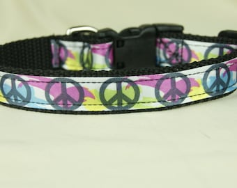 Color of Peace dog collar-Free Shipping