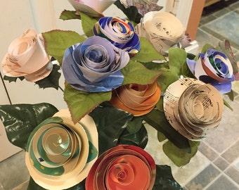 One Dozen Assorted Paper Roses