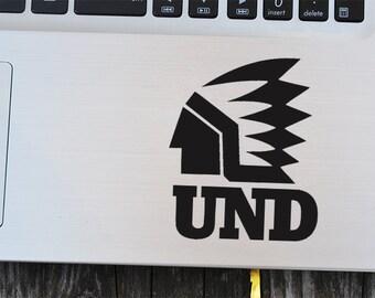 UND Fighting Sioux Decal Sticker, laptop decal, vinyl decals, macbook decal, wall sticker, car decal