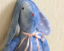 Denim Bunny/ Tilda/Rabbit/Stuffed toys/Present with LOVE/jeans denim toy/Handmade toy/recycled denim/Easter gift