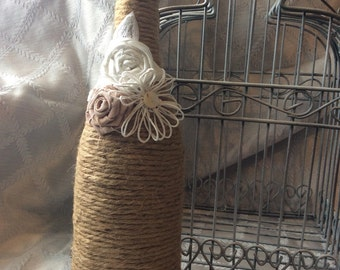 Rustic Wedding Wine Bottle Decor, Shabby Chic, Wedding Decor, Rustic