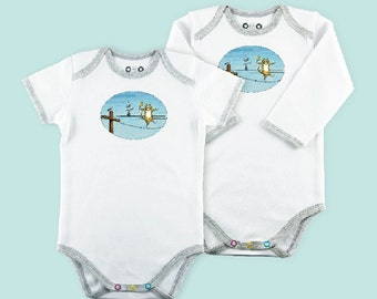 HIGH WIRE ACT art on Organic Onesie for baby/infant