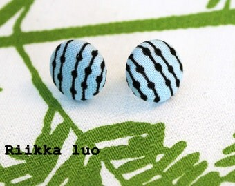 Button earring Marimekko fabric studs - small pastel blue colour cover button earrings - Geometrical and minimalistic Scandinavian design