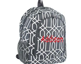 Geometric gray backpack, school backpack
