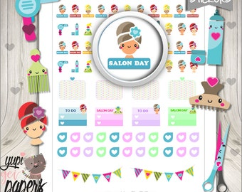 50%OFF - Salon Stickers, Printable Planner Stickers, Hair Salon Stickers, Hair cut, Stickers, Planner Accessories, Cute Stickers