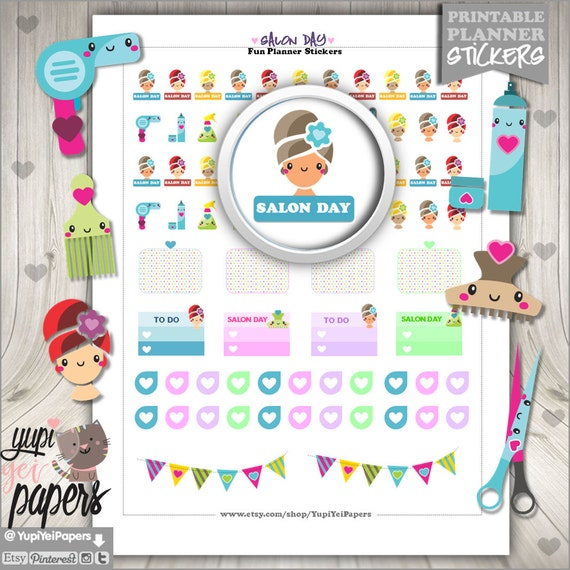 50 off salon stickers printable planner stickers hair for Stickers salon