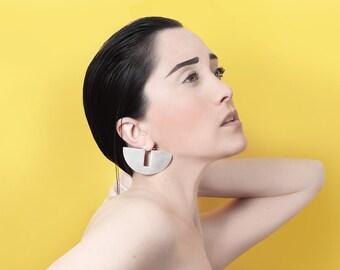 Modern Minimalist Sterling Silver Earring - Geometric Design - Contemporary -Handmade - Secret Circle Earring