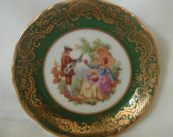 Limoges Green and Gold Trinket Dish