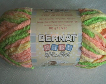 Bernat Baby Yarn/One Skein/Little Sunshine/Yellow/Pink/Green/3.5 oz/72 Yards/Super Bulky