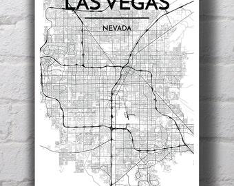Black & White Las Vegas City Map Print