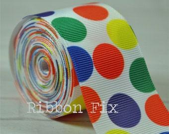 "2 yards 1.5"" Rainbow Polka Dot Grosgrain Ribbon - Primary Colors - Craft - Sewing - Pride - ROYGBIV - Home Decor - Dog Collar/Leash"