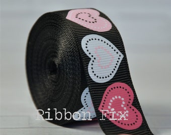 "2 yards 7/8"" Black Patchwork Heart Print Grosgrain Ribbon - Valentine's Day - Wedding - Sewing - Love - Home Decor - Dog Collar Leash - Pink"