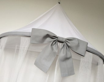Bow bed canopy, single bed canopy, cot bed canopy, grey bow, grey and white canopy, bed canopy for girls bedroom, reading corner
