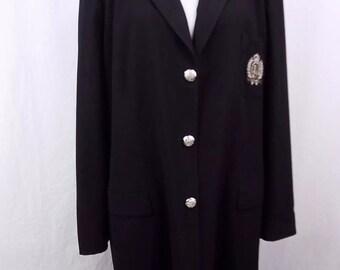 Vintage Women's Lauren Ralph Lauren Crest Emblem Long Blazer Coat Jacket