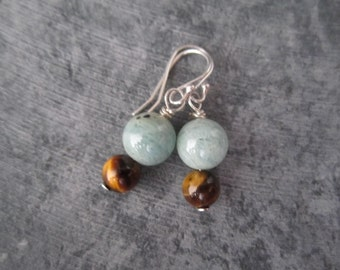 Aquamarine and Tigers Eye Gemstone Earrings