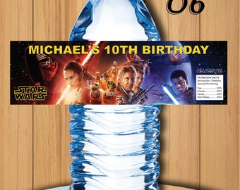 Star wars water bottler label, star wars birthday, star wars party, star wars favors, star wars party favors, 16.9 oz water bottle label #6