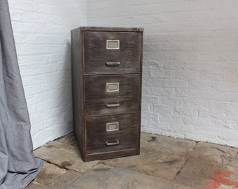 Christie Reclaimed Vintage Industrial 1960s Stripped Steel 3 Drawer Filing Cabinet - Reclaimed Industrial Furniture by urbangrain.co.uk