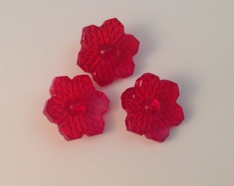 Pretty Vintage Red Floral Glass Buttons.