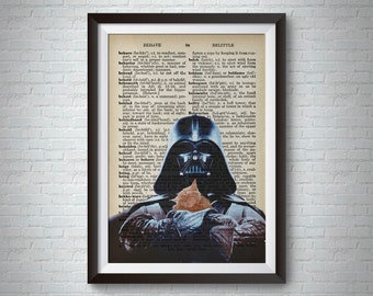 Darth VADER CAT Print Poster, Book Page Art