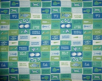 Gladys by Anna Griffin Inc. Retro Kitchen/Cooking Images in Greens and Blues 100% Cotton Pre-Cut Fat Quarter