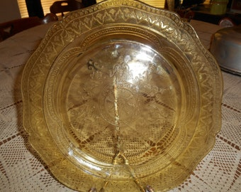 Yellow / Amber Federal Glass Plate ~ Patrician or Spoke ~ Circa 1930's