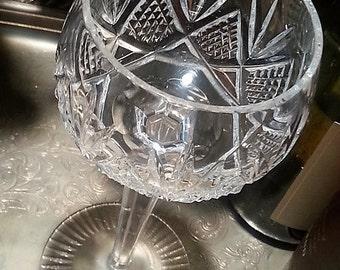 Vintage Bohemia Cut Crystal Wine Glass, Vintage Bohemia Cut Crystal Wine Glass, Cross Hatch and Fan Decor